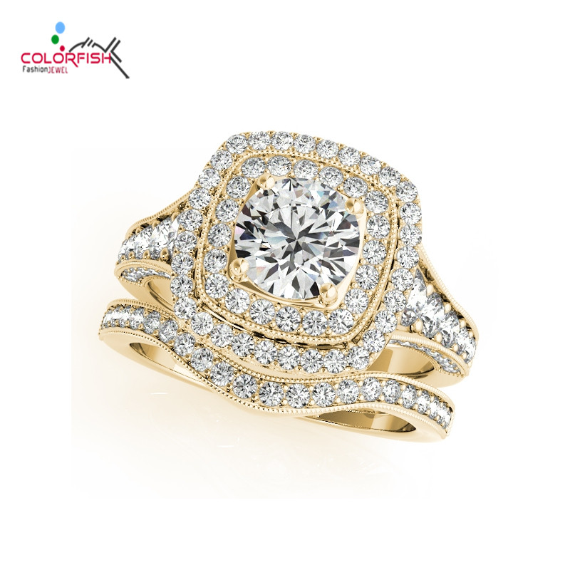 COLORFISH Luxury 1 ct Brilliant Round Double Halo Engagement Ring Set 925 Sterling Silver Yellow Gold