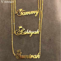Christmas Gift Custom Crown Name Necklace Personalized Jewelry Silver Rose Gold Stainless Steel Chain Nameplate Choker Necklaces