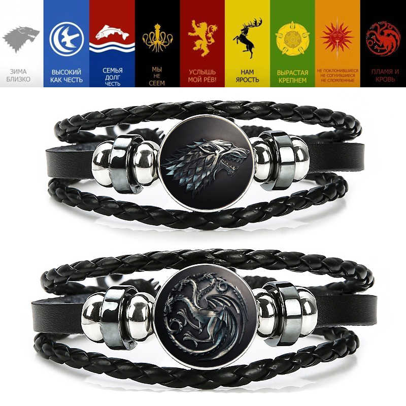 Game of Thrones Bracelet Cosplay Props House of Stark Nine Family Bracelets Bangle Unisex Song of Ice Fire Accessories