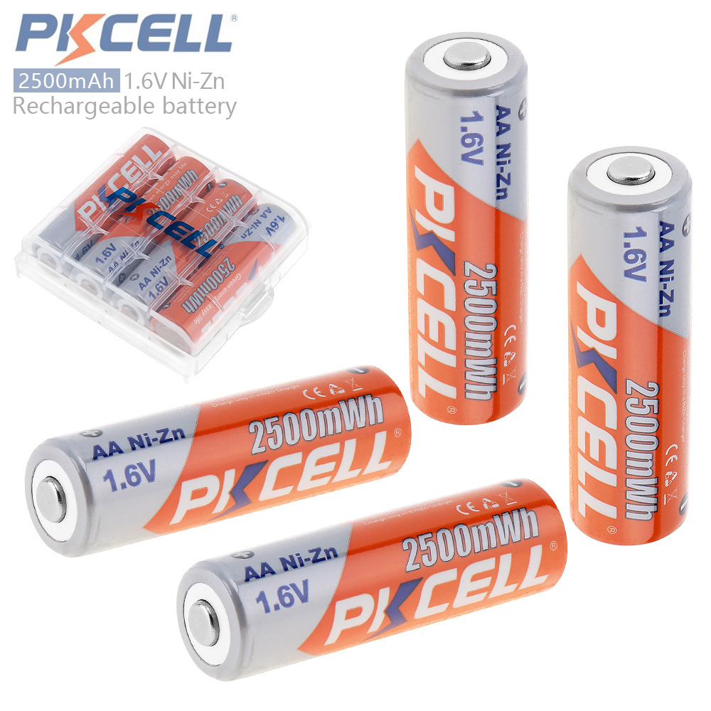4pcs PKCELL 2500mWh 1.6V Ni-Zn AA Rechargeable Battery with Over-current Protection for Toys Camera + Battery Storage Box Case