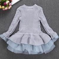 Çocuklar Kızlar Örme Kazak Kazaklar Tığ Tutu Elbise Kış Sıcak Giysiler FJ88