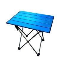 Mesa plegable portátil, plegable, para Camping, barbacoa, senderismo, azul, Mini para mochila, escritorio, viaje, pícnic al aire libre, aleación de aluminio, ultraligero