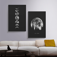 цена на Full Moon Poster Art Black White Moon Phase Decor Painting Solar System Canvas Painting Decor No Picture Frame Home Gallery Deco