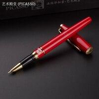 Sanat Saray 966 PICASSO Renkli kalemler Iş ofis mali Dolma Kalem (EF) kırmızı hediye kalem