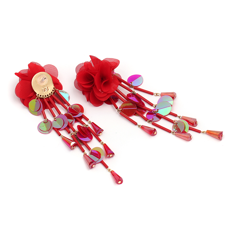 JUJIA Bohemian Long Flower Earrings Pom Pom Big Statement Earrings Fringe Drop Earrings Women Jewelry 21