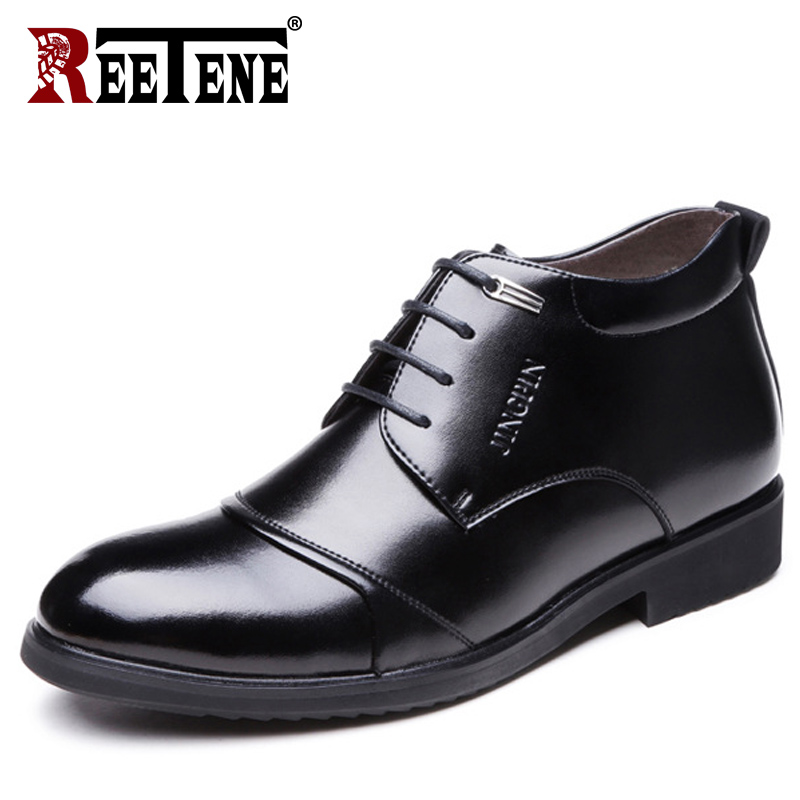 REETENE de invierno de cuero de los hombres botas más tamaño 37-48 de los hombres de invierno tobillo botas negro Zapatos de vestir de los hombres de zapatos de vestir de los hombres