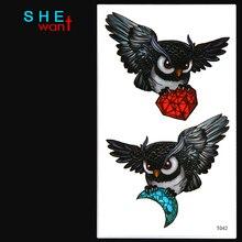3D Owl flash tattoo Temporary Tattoo Sticker Body Art Tattoo men Women Arm tattoo Wholesale