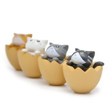 2019 4Pcs/Set Cat in the Eggshell Miniature Ornaments Horticultural Landscaping Cute Doll Model Toy Home Desktop Garden(China)
