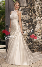 MORI-Free Shipping 2013 New Hot Fashion Designer Ladys High Collar A-Line Applique Satin Train Formal Wedding Dresses GownB