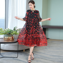 Red Flowing Silk Dresses Women Natural 2019 Plus Size Large Quality Party Night Polka Dot Wave Point Elegant Summer