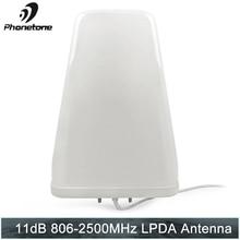 Log antena periódica 11dbi 806 2500 mhz ao ar livre para o amplificador de comunicação do repetidor do impulsionador do sinal do telefone celular com extremidade fêmea de n