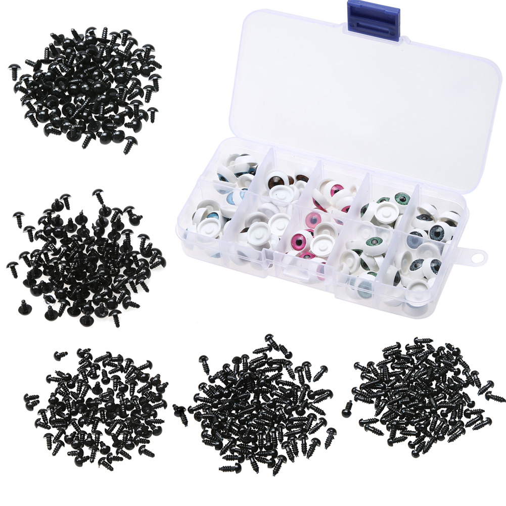 100pcs 6-12mm Plastic Safety Eyes for Teddy Bear Doll Animal Crafts Box Black/White eye for hand making accessory