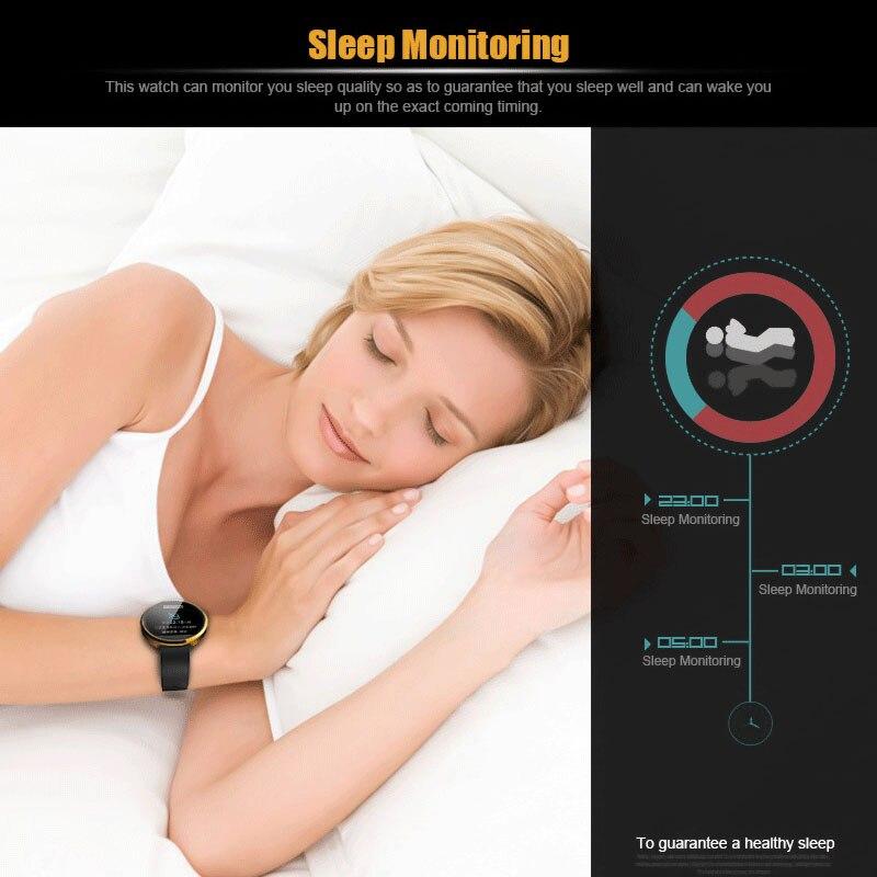 Meilleure qualité montre intelligente bracelet en cuir montre-bracelet cadran rond moniteur de fréquence cardiaque pour iPhone iOS Android Smartphone montre