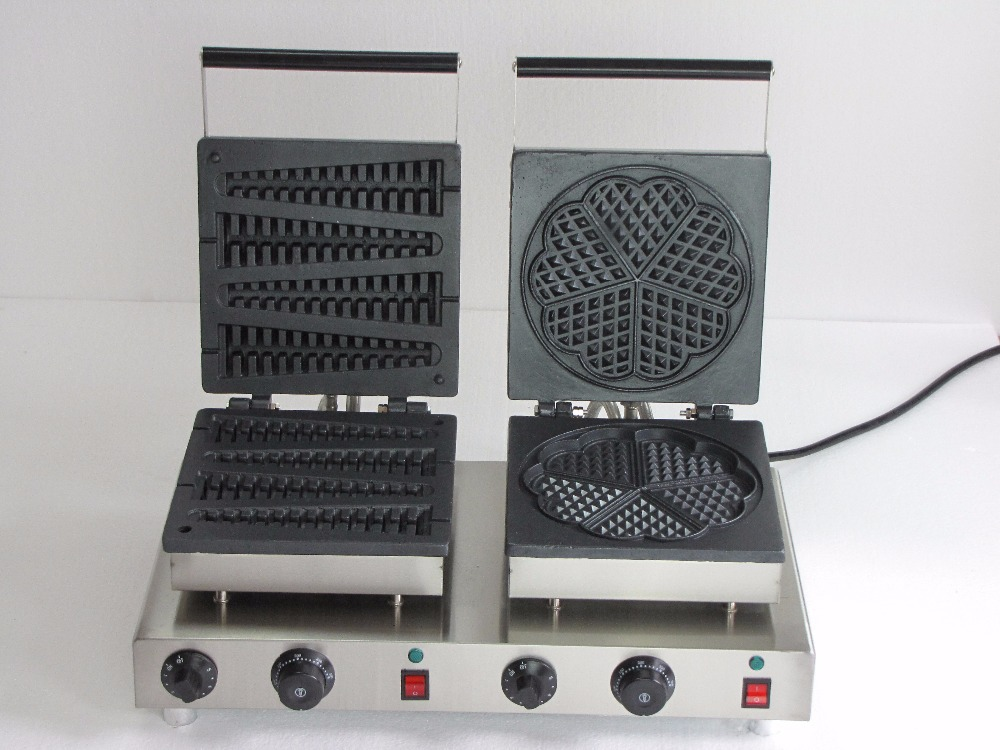 Stainless Steel double head commercial waffle cone maker