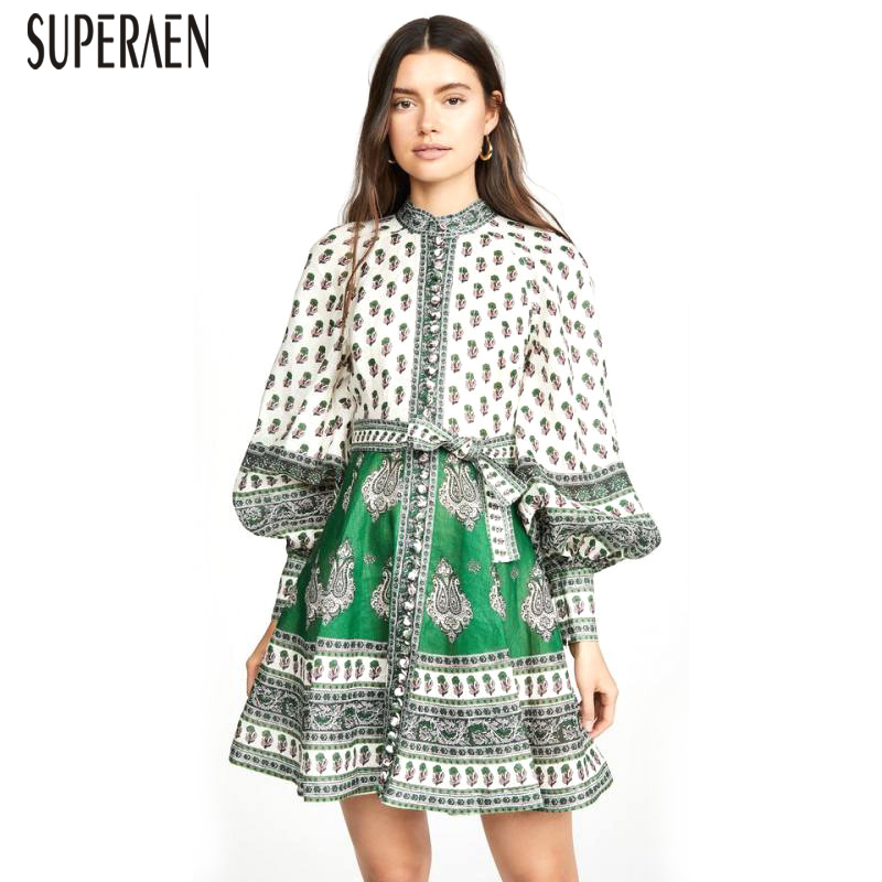 SuperAen 2019 Summer New Women Dress Fashion Cotton Casual Ladies Dress Stand Collar Long Sleeve High