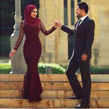 Mermaid Long Sleeve Venice Lace Hijab Muslim Evening Dress Elegant Burgundy Formal Party Gown Robe de soiree