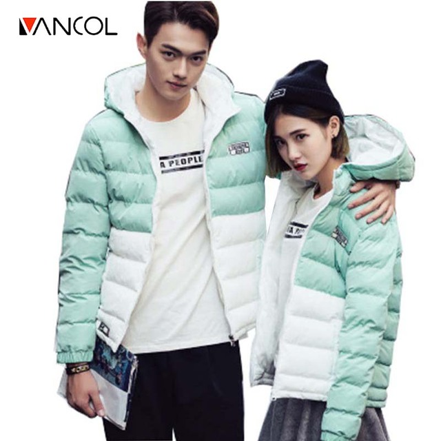 Hooded Wadded Padded Warm Coats Winter Patchwork Down Parkas for Mens Brand Women Couple Winter Jacket Coat