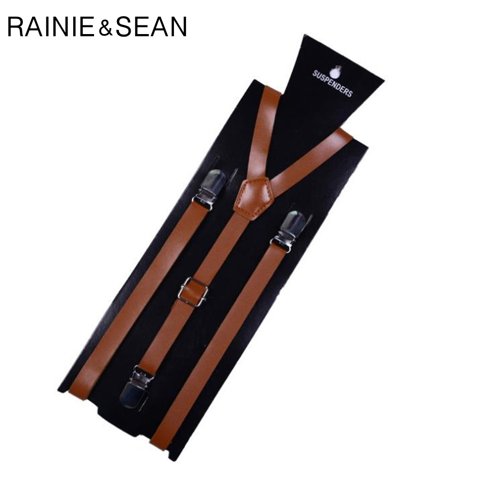 RAINIE SEAN Pu Leather Suspenders For Women Retro Pants Suspenders Belt Adult White Black Red Brown Female Shirt Braces 100 Cm