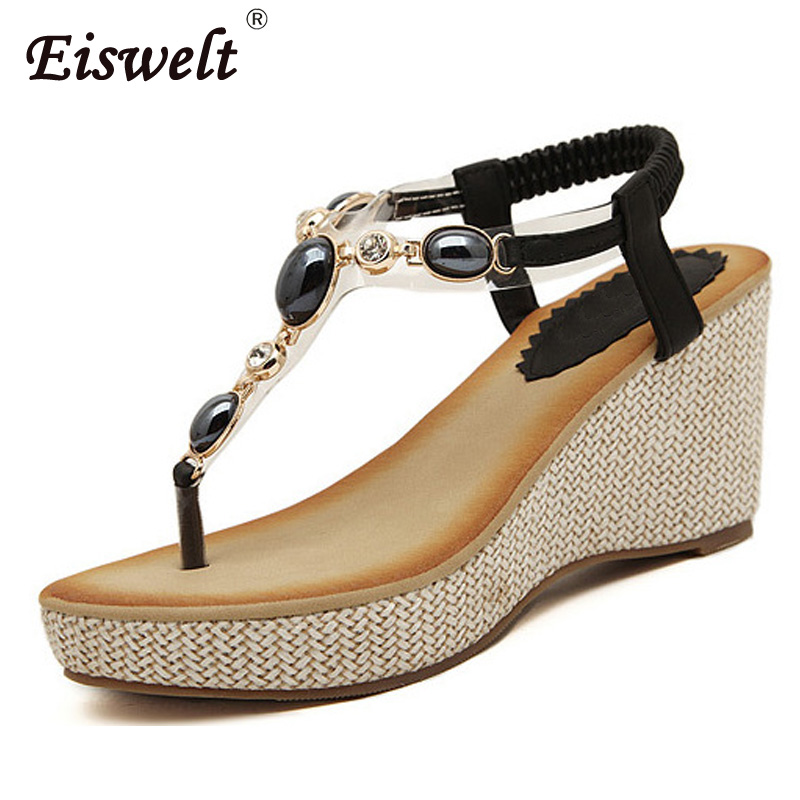 Eiswelt Summer Women Sandals Gladiator Bohemia High Platform Wedges Beach Sandal Flip Flops Casual Shoes#ZQS011 eiswelt 35 40 fashion summer wedges women s sandals platform lace belt bow flip flops open toe high heeled women shoes edzw16
