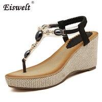 Eiswelt Summer Women Sandals Gladiator Bohemia High Platform Wedges Beach Sandal Flip Flops Casual Shoes ZQS011