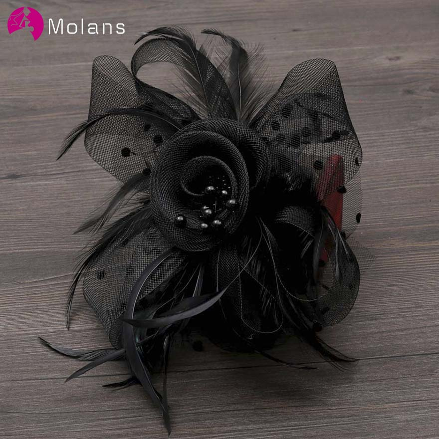 MOLANS Pearl Mesh Flower Fascinator Hat For Bridal Wedding Accessories Net Feather With Clips For Bride Party Church Cap