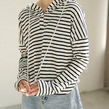Black White Striped Hoodies Sweatshirt Women Casual Simple Female Basic Hooded Pullovers Tops Drawstring All Match Sweatshirt недорого