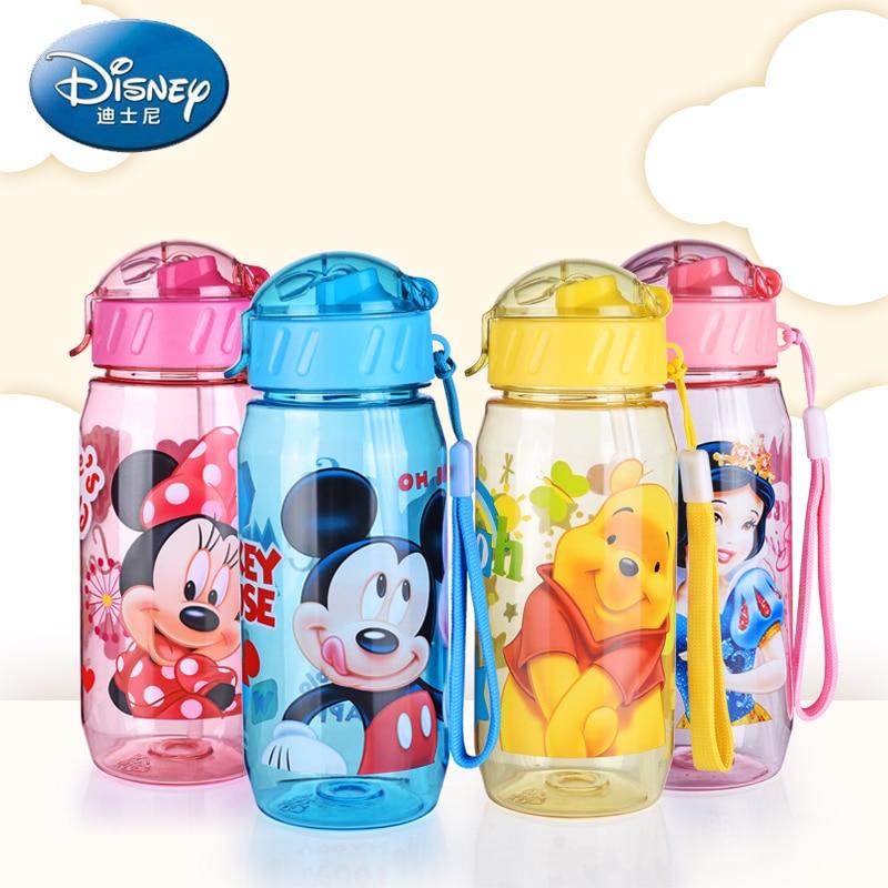 Disney niños tazas agua bebé alimentación botella con paja portátil de dibujos animados Minnie Mickey taza encantadora mi deporte botellas 400 ml senderismo