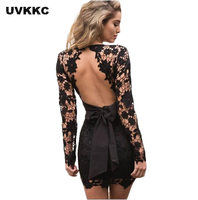UVKKC Women S Lace Dress 2017 Ladies Long Sleeve V Neck Lace Vestidos Women Black Pink