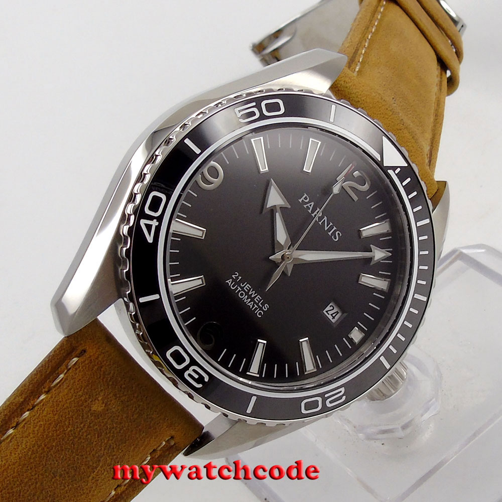 45mm Parnis black dial Sapphire Glass Ceramic Bezel Automatic mens Watch 289
