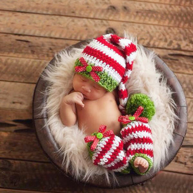Newborn photography props crochet knit costume prop outfits fotografia christmas outfits baby girls boys outfits clothing