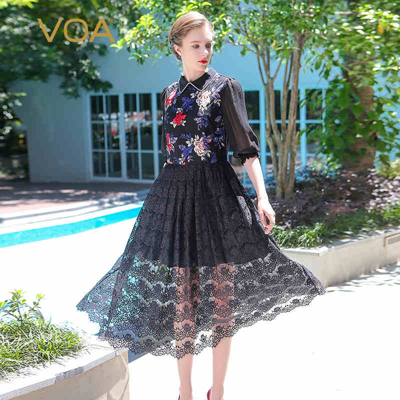 VOA 2017 Summer Classic Hepburn Black Sexy Lace font b Dress b font Peter Pan Collar