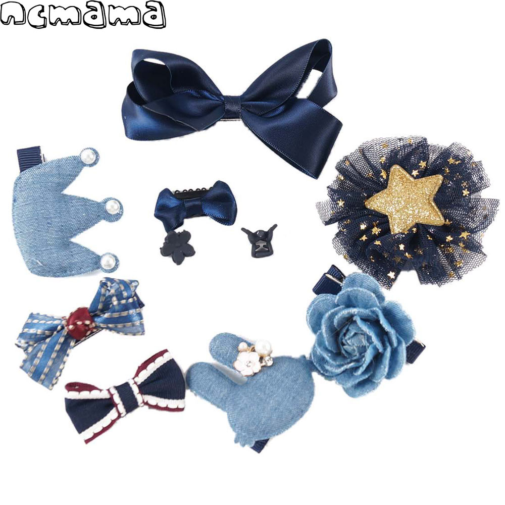 1 Set 10 Pieces Mix Style Hairclips Handmade Kids Crown Floral Hairbows with Safety Clips Boutique Girls Headwear(No Boxes)