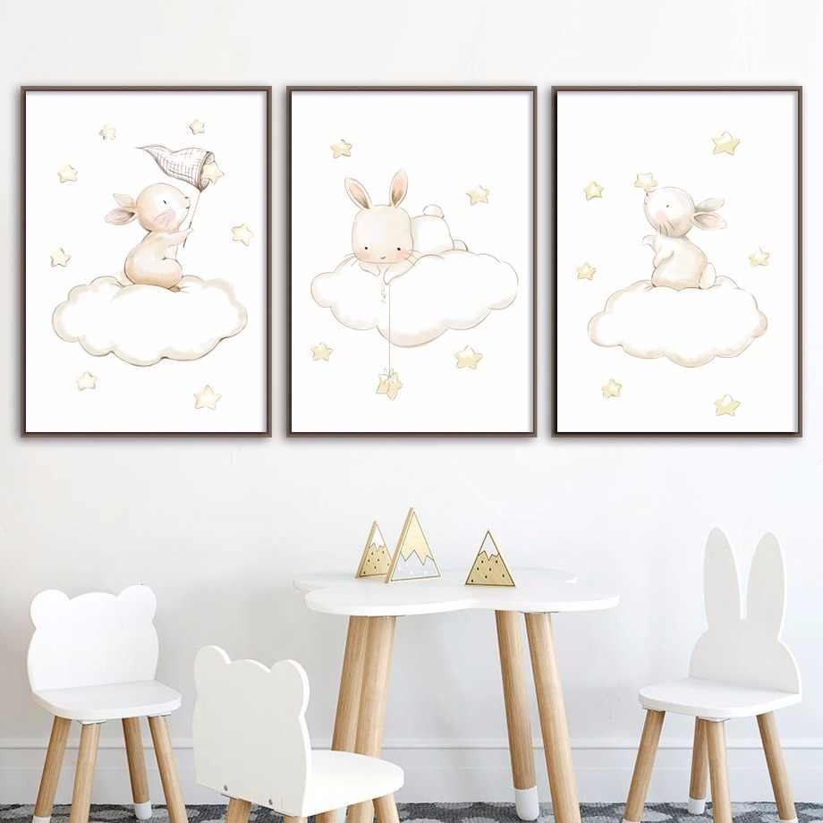 Fox Bear Rabbit Mouse Nursery Art Prints Wall Art Canvas Painting Nordic Posters And Prints Wall Pictures Baby Kids Room Decor