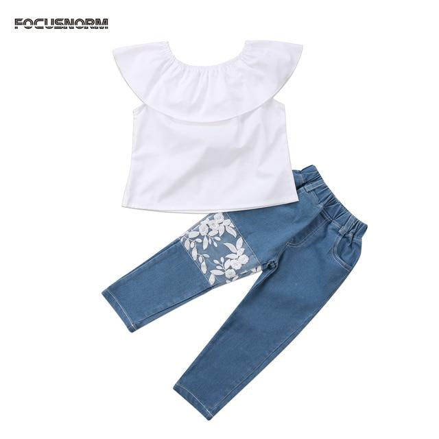 744b0b4b9fcc Newborn Kids Baby Girls Off Shoulder Top Denim Pants Jeans Outfits ...