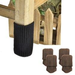 4 pçs cadeira perna meias luvas de pano chão proteção tricô meias de lã anti-deslizamento mesa móveis pés capa de manga protetores