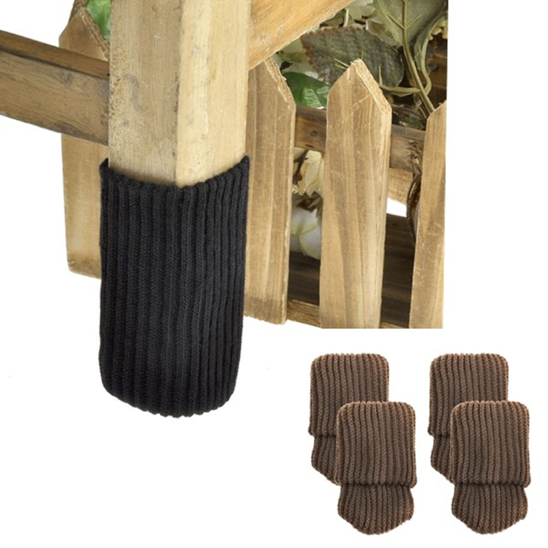 4pcs Chair Leg Socks Cloth Gloves Floor Protection Knitting Wool Socks Anti-slip Table Furniture Feet Sleeve Cover Protectors