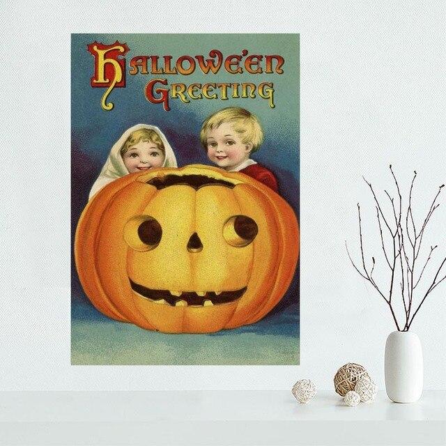 Vintage Halloween toile affiche personnalisé toile peinture affiche impression tissu tissu mur art affiche