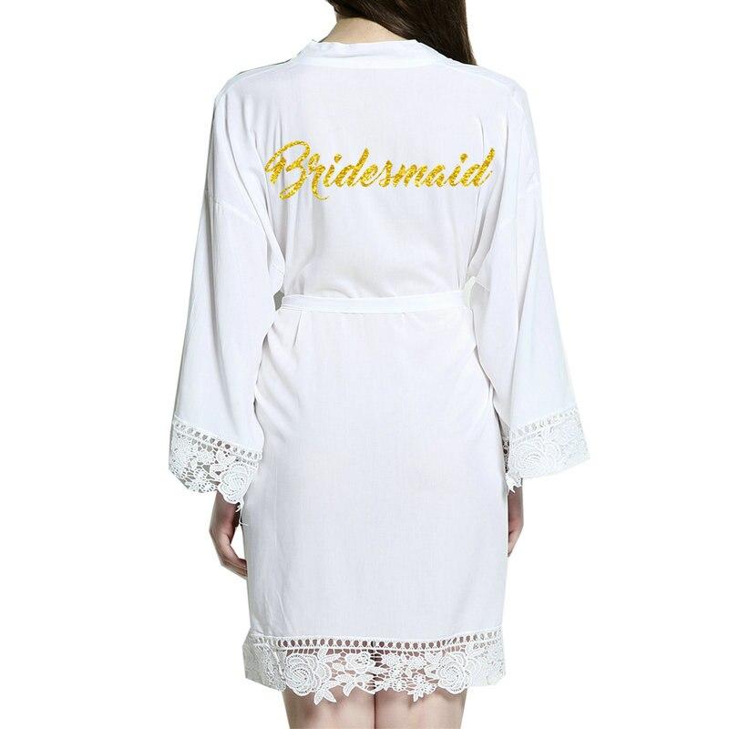 2018 New bridesmaid Cotton Kimono Robes With Lace Trim Women Wedding Bridal Robe Short Belt Bathrobe