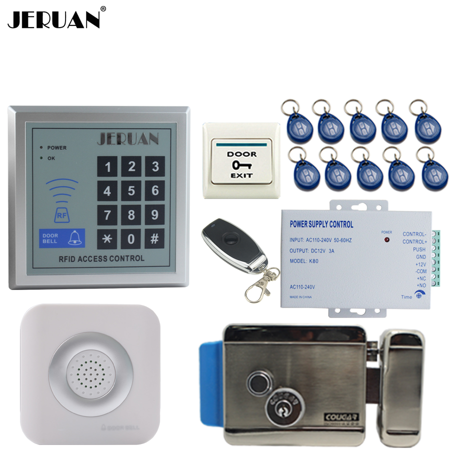 JERUAN New RFID Password Access Controller Door control system kit +Remote control + Exit Button +Doorbell + 12V Electric Lock 6000 user password door access control system door exit
