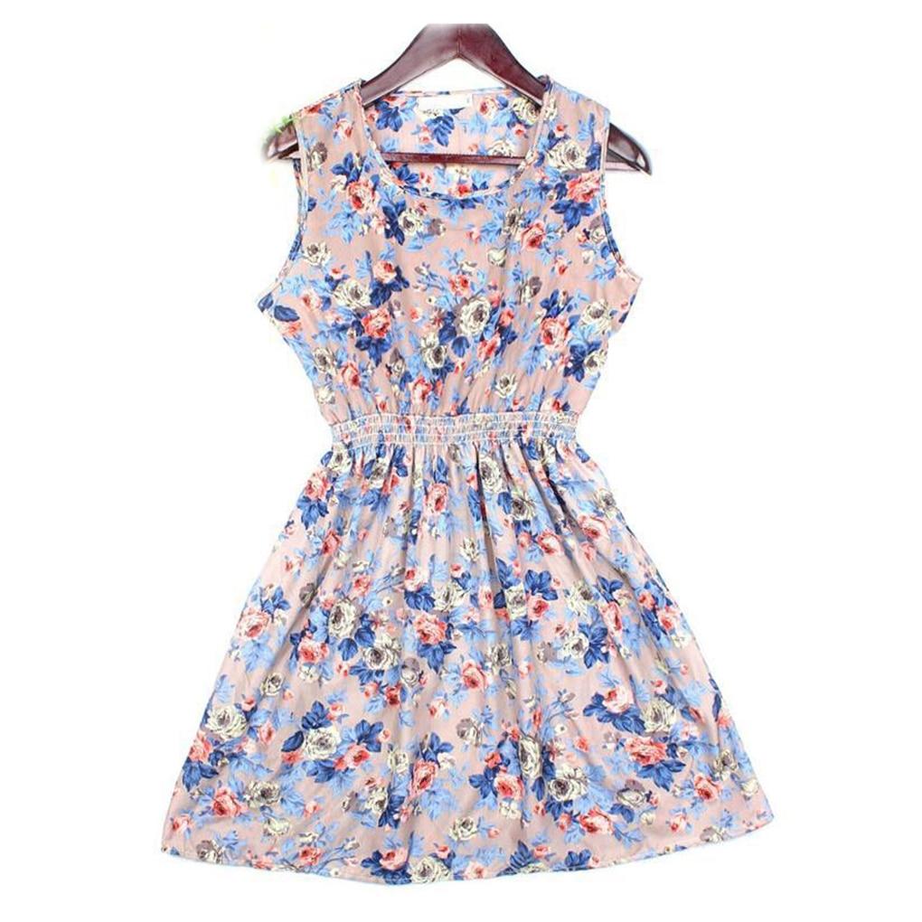 Vestidos estampados de verano las mujeres sin mangas floral short dress mujer a-