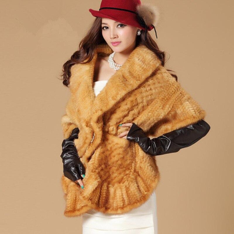 Luxury Winter Women's Genuine Real Knitted Mink Fur Shawl Ruffle Hem Lady Wraps Female Cape VF0469
