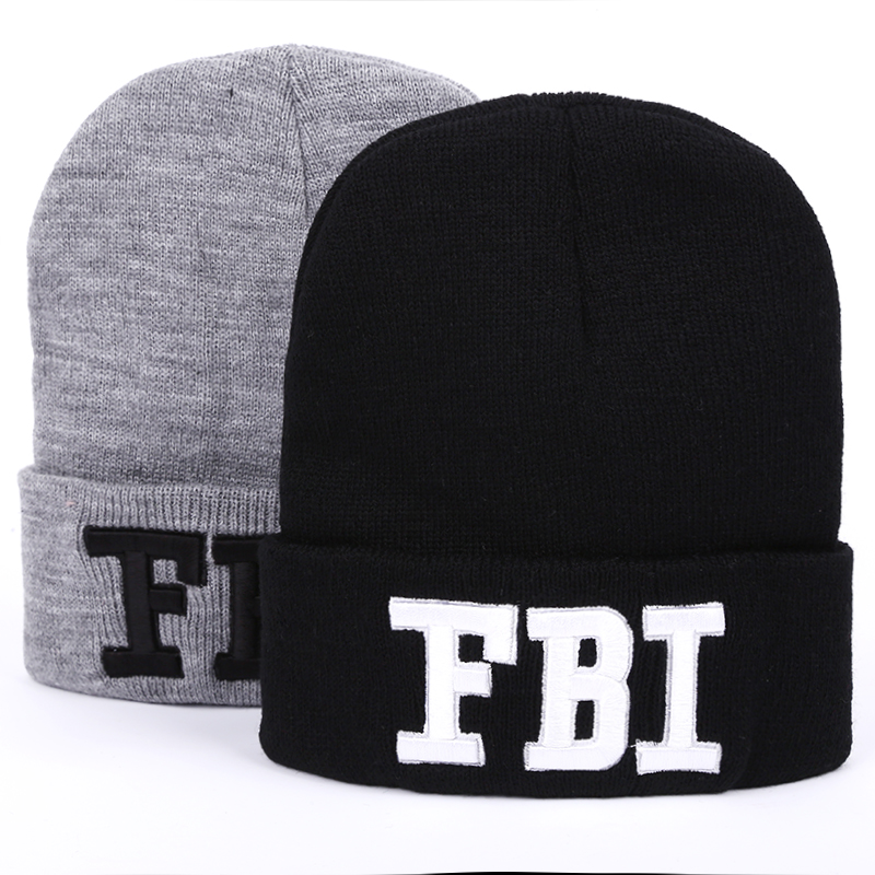 VORON 2017 New Autumn FBI Letter Beanie Winter Knitting Wool Hat Casual Unisex Caps Man's And Women's Beanies Knitted Gorro Warm