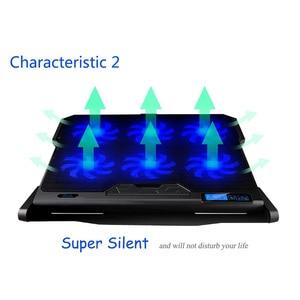 Image 4 - Podkładka chłodząca do laptopa chłodzenie laptopa sześć wentylatorów i 2 porty Usb podkładka chłodząca do laptopa stojak na notebooka do 13 16 Cal do laptopa