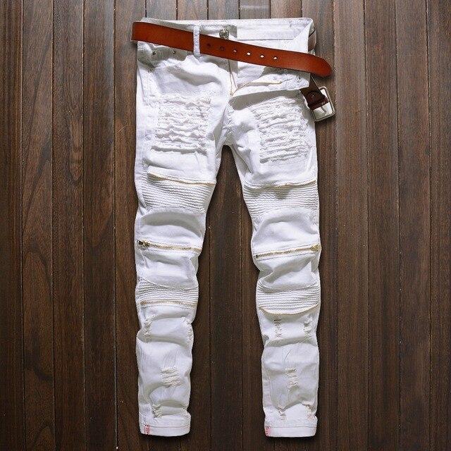 גברים סקיני ג 'ינס לבן ripped היפ ג' ינס מזדמנים אופנה רוכסן הברך slim fit biker hop להרוס למתוח ג 'ינס אופנוע