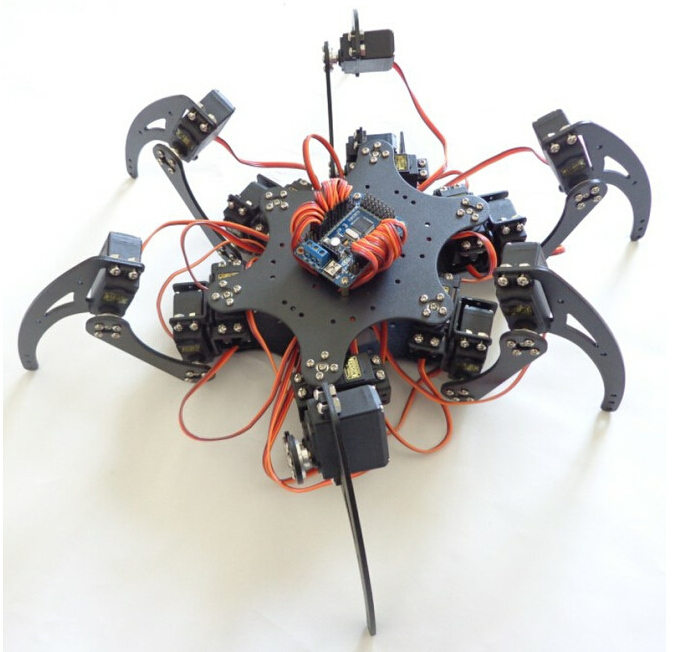 18DOF Aluminium Hexapod Robotic Spider Six Legs Robot Frame Kit with Remote Controller F17328 18dof aluminium hexapod spider six legs robot kit w 18pcs mg996r servo
