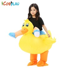Adults Kids Inflatable Duck Costume Yellow Rider Halloween Costumes Women Animal Mascot Cosplay