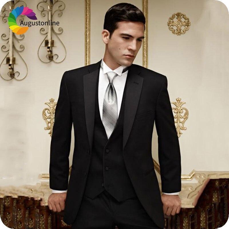 Italien noir classique hommes costumes pour mariage Slim Fit marié Costume hommes d'honneur smoking Terno Masculino 3 pièces Homme Blazer Costume Homme