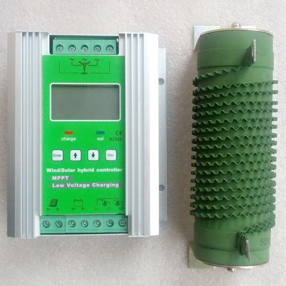 1200 W Vent Solaire Hybride Contrôleur 12 V/24 V, Boost MPPT 600 W Vent + 600 W Solaire avec Anti-charge et Batterie Protection Contre les Inversions