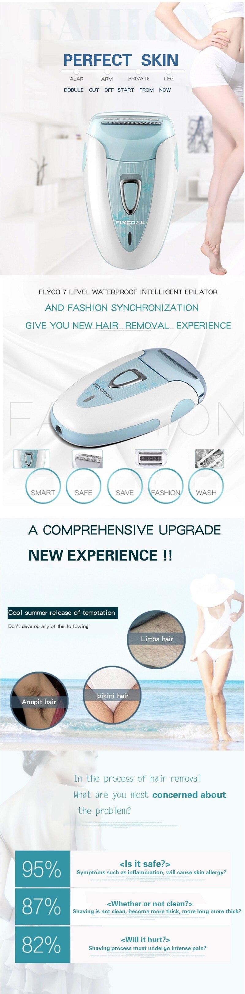 Flyco профессиональная перезаряжаемая модная Женская бритва устройство для удаления волос женский эпилятор электрический бритвенный соскабливающий FS7208