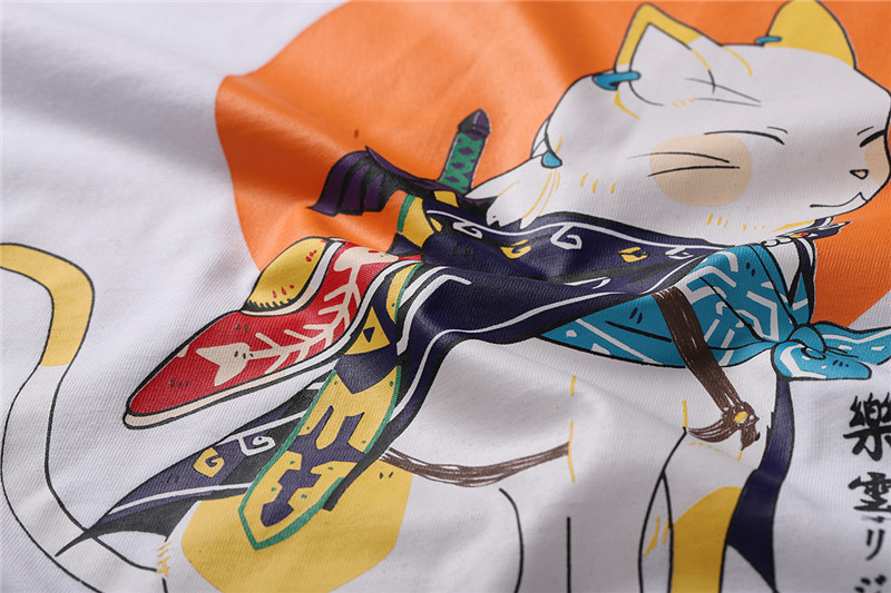 Samurai Cat Print T-Shirt